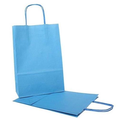 Gekleurde papieren tassen: groen, blauw, roze en geel