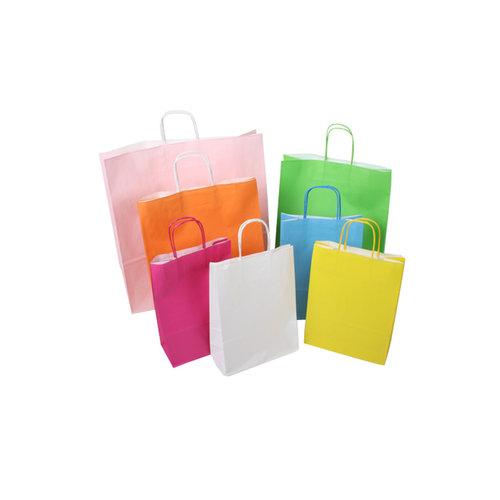 Gekleurde papieren tassen  met gedraaid handvat - 50 stuks