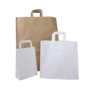 Papieren tas 32+15x43 cm / bruin en wit