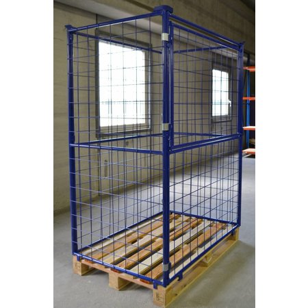 SalesBridges Cage Container steel H1600mm folding window for industrial pallet