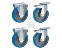 Heavy Weight Wheel set tipper containers blue elastic rubber wheels 200 mm diameter