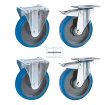 Zwaar last Wielen set kiepbakken blauw elastisch rubber 200 mm diameter