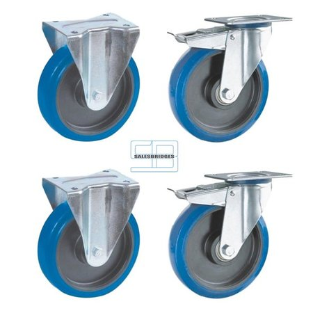 SalesBridges Heavy Weight Wheel set tipper containers blue elastic rubber wheels 200 mm diameter