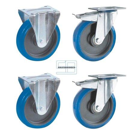 SalesBridges Zwaar last Wielen set kiepbakken blauw elastisch rubber 200 mm diameter
