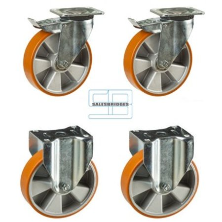 SalesBridges Heavy Weight Wheel set tipper containers PU wheels 160 mm diameter