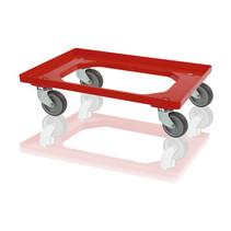 Plateau roulant plastique dolly porte-bacs 60x40 cm Rouge