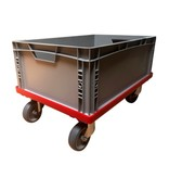 SalesBridges Kunststof Transport dolly Euronorm Voor Eurobox Eurokrat 60x40 cm Rood