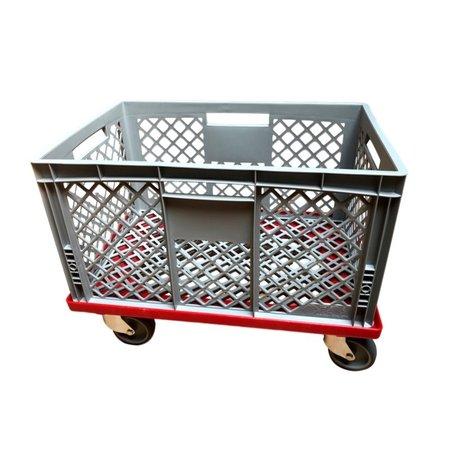 SalesBridges Plateau roulant plastique dolly porte-bacs 60x40 cm Rouge