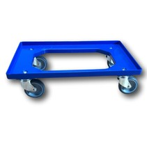 Plateau roulant plastique porte-bacs 60x40 cm Bleu
