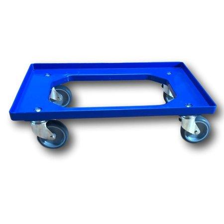 SalesBridges Kunststof Transport dolly Euronorm Voor Eurobox Eurokrat 60x40 cm Blauw