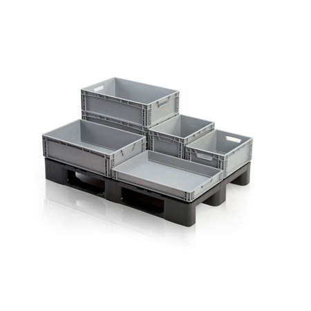 SalesBridges Bac de rangement  60x40x12 cm en plastique superposable, gerbable
