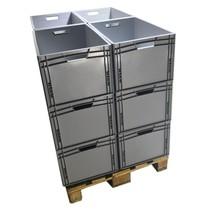 12 x Eurobox Universal 60x40x32 cm open handle Eurocontainer KLT box Superdeal