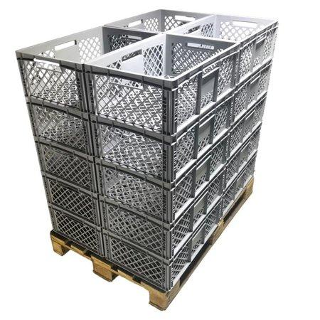 SalesBridges Bac de rangement Perforé 60x40x22 cm  Eurobox plastique