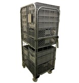 SalesBridges Nestable Roll Container with 4 sides with Eurocrates Euroboxes