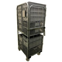 Nestable Roll Container with 4 sides with Eurocrates Euroboxes