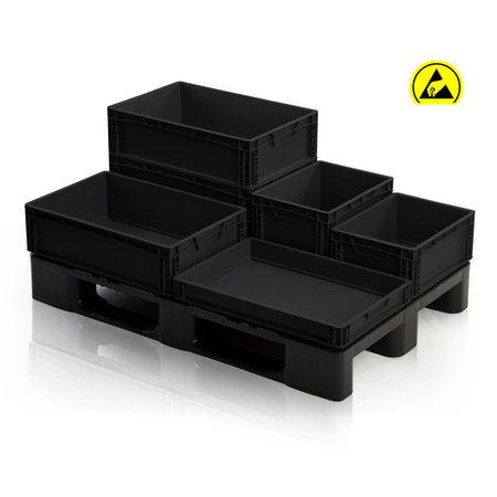 SalesBridges ESD Eurobox 40x30 cm diverse hoogtes ESD Euro container Bakken zwart