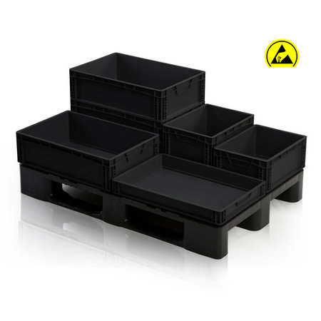 SalesBridges ESD Eurobox 60x40 cm diverse hoogtes ESD Euro container Bakken zwart