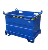 SalesBridges Chip Container 750L with Lifting Eyes Hinged Bottom Tipper Container for Forklift and Crane