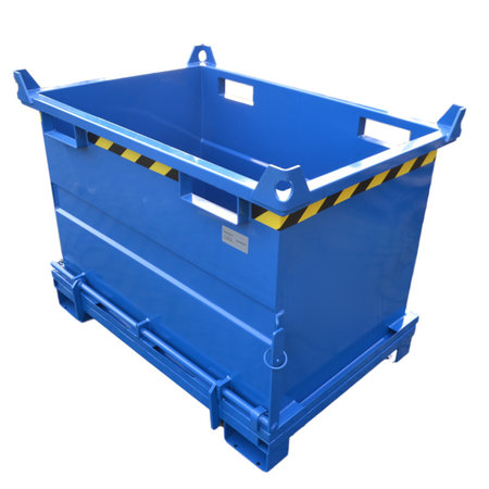 SalesBridges Chip Container 500L with Lifting Eyes Hinged Bottom Tipper Container for Forklift and Crane BB-model