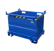 Chip Container 1500L with Lifting Eyes Hinged Bottom Tipper Container for Forklift and Crane BB-model