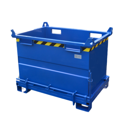 SalesBridges Chip Container 1500L with Lifting Eyes Hinged Bottom Tipper Container for Forklift and Crane BB-model