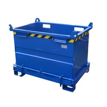 Chip Container 1300L with Lifting Eyes Hinged Bottom Tipper Container for Forklift and Crane BB-model