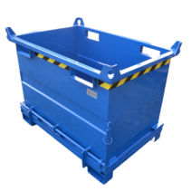Chip Container 2000L with Lifting Eyes Hinged Bottom Tipper Container for Forklift and Crane