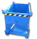 SalesBridges Chip Container 2000L with Lifting Eyes Hinged Bottom Tipper Container for Forklift and Crane