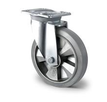 Zwenkwiel zonder rem zwaarlast 125 mm elastisch rubber grijs
