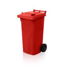 Mini-conteneur Bacs déchets en plastique 2 roues Rouge 120L