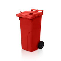 Plastic Rollcontainers Dustbins on Wheels 120L Red