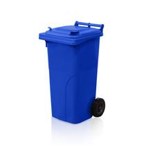 Mini-conteneur Bacs déchets en plastique 2 roues Bleu 120L