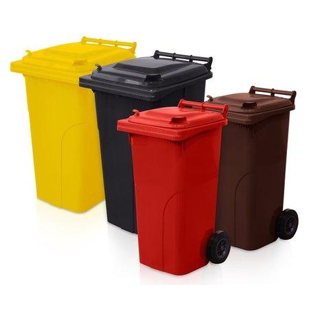 SalesBridges Mini-conteneur Bacs déchets en plastique 2 roues 240L Marron