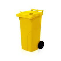 Mini-conteneur Bacs déchets en plastique 2 roues noir 120L Jaune