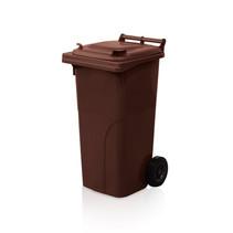 Mini-conteneur Bacs déchets en plastique 2 roues noir 120L  Marron