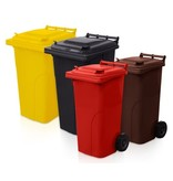 SalesBridges Plastic Rollcontainers Dustbins Minicontainer on Wheels 120L Brown
