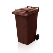 Mini-conteneur Bacs déchets en plastique 2 roues 240L Marron