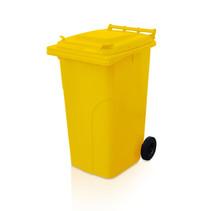 Mini-conteneur Bacs déchets en plastique 2 roues 240L Jaune