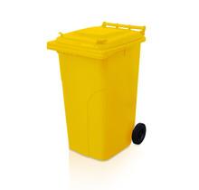 Mini-conteneur Bacs déchets en plastique 2 roues 240L poubelle Jaune