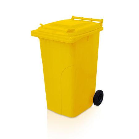SalesBridges Mini-conteneur Bacs déchets en plastique 2 roues 240L poubelle Jaune
