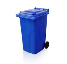 Mini-conteneur Bacs déchets en plastique 2 roues 240L Bleu poubelle
