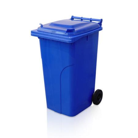 SalesBridges Mini-conteneur Bacs déchets en plastique 2 roues 240L Bleu poubelle