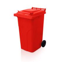 Mini-conteneur Bacs déchets en plastique 2 roues 240L Rouge