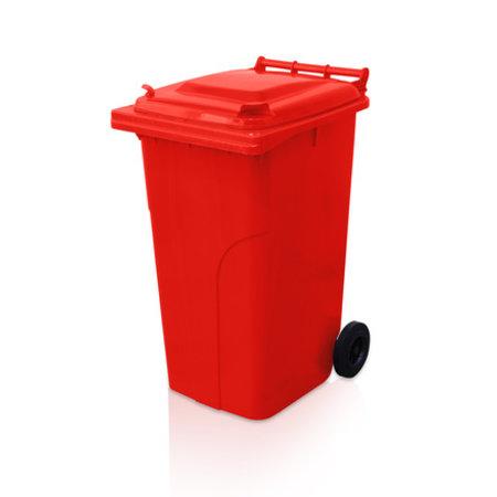 SalesBridges Mini-conteneur Bacs déchets en plastique 2 roues 240L Rouge