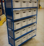 SalesBridges Order Picking Mesh Shelf Trolley Rollcontainer with Eurocrates Euroboxes