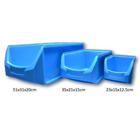 SalesBridges Bac à bec en plastic pour magasin PP A  23x15x12.5cm Bleu