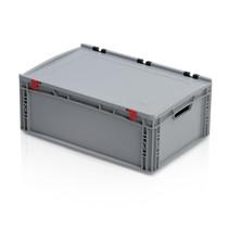 Eurobox Universal 60x40x23.5 cm avec couvercle poignée ouverte Conteneur Euro KTL box Superdeal