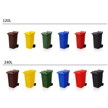 SalesBridges Mini-conteneur Bacs déchets en plastique poubelle 2 roues noir 120L Jaune