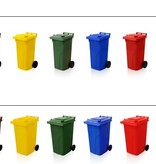 SalesBridges Plastic Rollcontainers Dustbins Minicontainer  on Wheels 120L Red