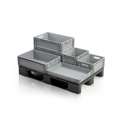 SalesBridges Bac de rangement  60x40x22 cm en plastique superposable poignée fermée
